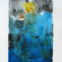 Coastal Anxiety #14 - Monotype Plus Acrylic and Watercolor - Plate Size: 16.5 X 9.5 inches